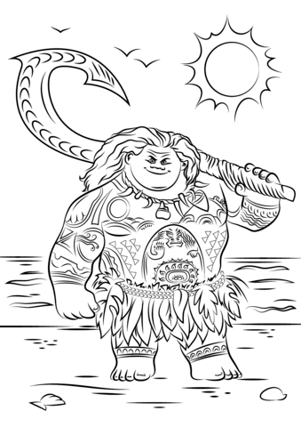 maui-from-moana-coloring-page