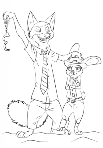 nick-wilde-and-judy-hopps-from-zootopia-coloring-page