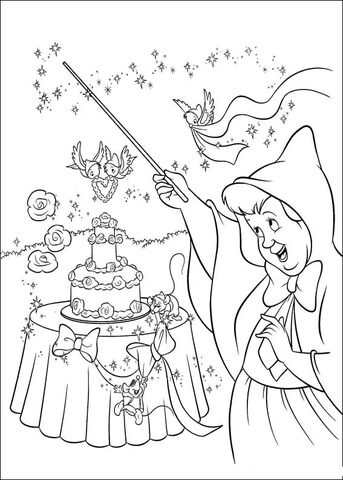 the-fairy-makes-a-wedding-cake-coloring-page